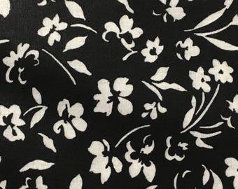 Cotton Fabric / Cotton Chintz Fabric / Vintage Cotton Fabric / Black Floral Fabric / Vintage Floral Fabric / Peter Pan Fabric