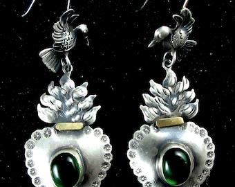 CARLOS GUTIERREZ~Flaming Sacred Heart with Dove~Oaxaca 925 Earrings~Free Shipping