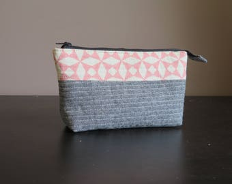 Quilted Linen Cotton Zippered Pouch