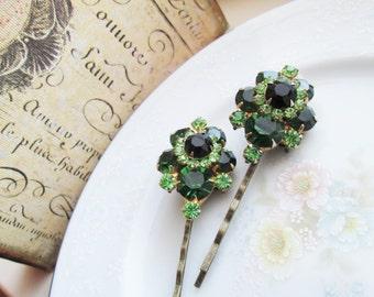 Repurposed/Upcycled Vintage Juliana D&E Earrings into Green Rhinestone Bobby Pins / Hair Pins / Hair Accessory / OOAK Art
