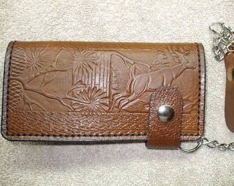 deer long wallet / roper wallet. buck chain wallet