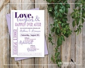 Printable Rehearsal Dinner Invitation Love, Laughter, Happily Ever After - Purple and Lavender - Custom Colors
