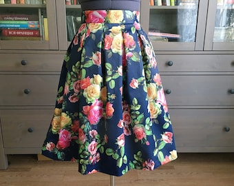 Flower Print Pleated Skirt Knee Length Skater Skirt With Side Pockets
