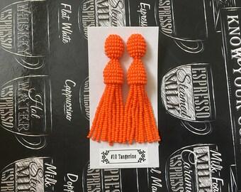 Beaded Tassel Clip-On Earrings Tangerine