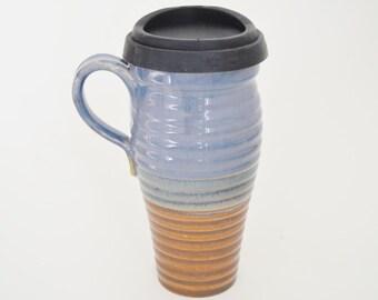 IN STOCK, Ceramic Travel Coffee Mug with Lid and Handle, 24 oz Stoneware Coffee Mug, Large To Go Tea Mug with Sippy Lid, Commuter Mug