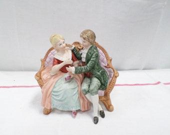 Porcelain Bisque Figurine Scene Galante  (w817)
