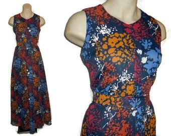 SALE Deadstock Vintage 1970s Dress Long Floor Length Maxi Dress Denmark NWT Sheer Fabric Floral Print Unworn Danish Boho M chest 38 in