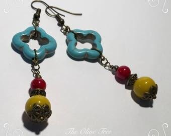 Turquoise Moroccan Bohemian Teardrop Dangle Earrings - Boho Earrings - Zen Earrings - Hippie Earrings - Gypsy Earrings - Meditation