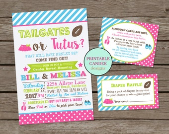 Football Gender Reveal, Tailgates or Tutus, Gender Reveal Party, Football or Tutus, Gender Reveal Invitation, Free Raffle or Book Inserts