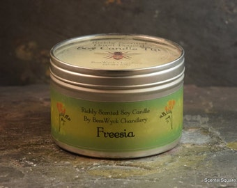 Soy Candle Tin - 8 oz in Freesia Scent
