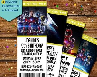 Power Rangers Invitations, Power Rangers Ticket Invitations, Power Rangers Birthday Invitation, Power Rangers Party, Power Rangers Movie