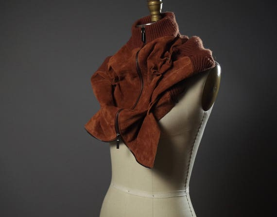 Repurposed Leather Scarf Cowl - Chunky Neck Warmer - Zippered Suede Cowl - Unisex Leather Accessories
