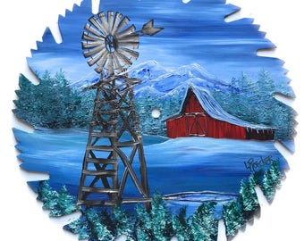 Hand Painted Saw Blade Mountain Winter Red Barn and Windmill