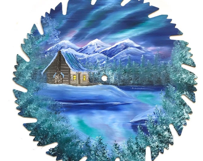 Hand Painted Saw Blade Mountain Northern Lights Winter Log Cabin