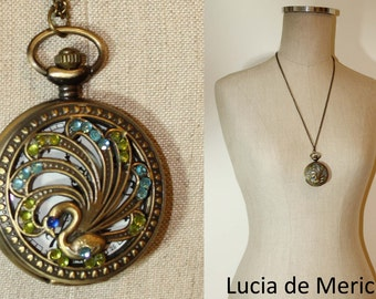 Peacock Pocket Watch necklace -Wedding gift -Bridal gift - Coupon code.-Peacock jewelry- Custom colors