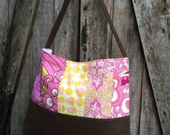 Handbag Purse Tote Bag Shoulder Tote in Pink Patchwork