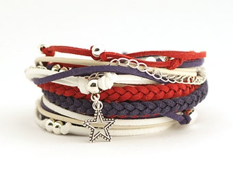 4th July usa bracelet, American flag colors, Patriotic Jewelry, Marine Style Bracelet, Red Navy White Wrap Bracelet, gift for her