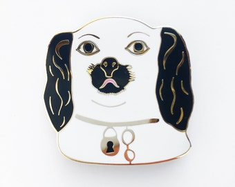DOG HEAD BROOCH - black