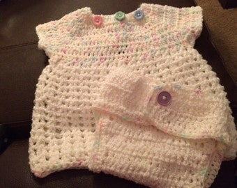 Beautiful Crochet Baby Girl Dress and Diaper Cover Set