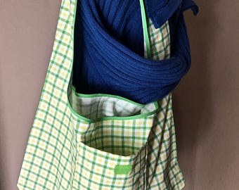 Medium Folding Market Bag, Green & Yellow Plaid Grocery Tote, Lightweight Project bag with Pocket, Single Strap Folding Bag