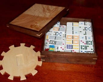 Mexican Train Domino Set in a Hand Made Walnut and Figured Maple Box