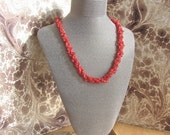 Luxury Necklace, Sardinian Coral, Red Branch Coral, Vintage Coral, Removable Cross, Natural Color, Three Strands, Estate Jewelry, Rare