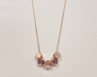 Beautiful Rose Gold Geo Bead Necklace