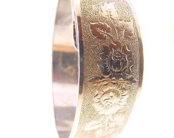 Buckle Bracelet Victorian Revival Style Engraved Rose Lattice Motif Lovely Older Piece ON SALE NOW Half Off Sale Item Sold As Is