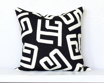 Kuba Modern Tribal Linen Pillow Cover - Black Combo