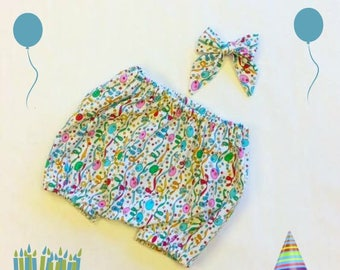 Baby Birthday Balloon Bloomers and Sailor Bow