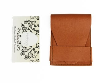 "Cognac Leather Wallet, Business Card Holder, Birdbags ""Beak"""