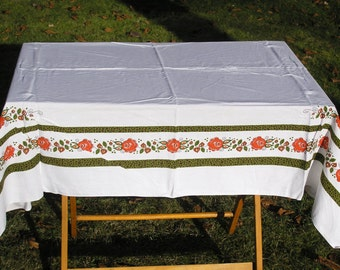 Vintage Tablecloth, Large Cotton Printed Tablecloth in White with Rose Buds, SMF Schramberg Tirol Series, Mid Century Floral Table Linens