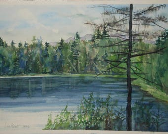 vintage new England watercolor pond trees  hills signed