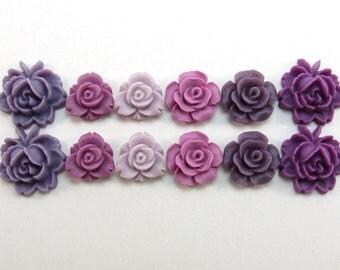 12 pcs Resin Flower Cabochons Assorted Sizes Sampler Pack - Plum Colors (12-18mm size range)