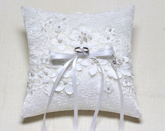 Lace ring pillow, wedding ring bearer pillow, wedding ceremony ring pillow, wedding ring cushion