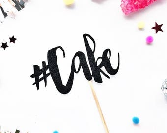 Hashtag Cake Topper/ Cake Topper/ HBD/ Party Cake Topper/ Birthday Cake Topper/ Glitter Cake Topper