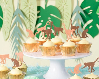 Monkey Cupcake Toppers - Monkey Party Decor - Jungle Party Decorations - Jungle Baby Shower - Monkey Birthday - Cake Toppers Unique