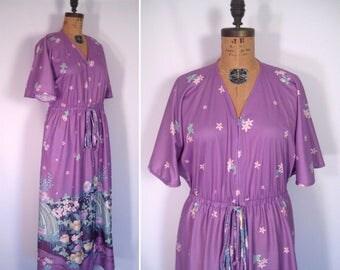 1970s lavender flower print maxi dress • 70s pastel purple tropical floral print gown • vintage enchanted island dress