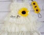 Rustic Sunflower Flower Girl Dress-Sunflower Sash and Headband Lace Flower Girl Dress-Cowboy Girl Outfit.Flower Girl Gift
