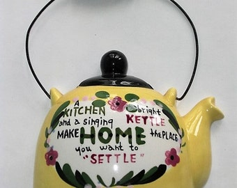 Vintage Yellow Hanging Tea Kettle Wall Pocket with Poem
