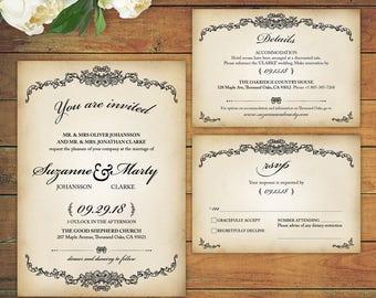 Vintage Rustic Wedding Invitations RSVP Cards Details Pdf Template Printables Editable Victorian Invites Digital Download 30014