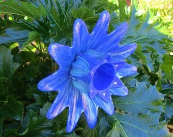 Garden Decor, Glass Plate Flower Garden Art - Hand Painted in Cobalt, Lilac & Green - Garden Sculpture - Outside Decoration - Garden Gift