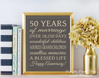 50th ANNIVERSARY Sign - INSTANT GIFT 50 Years Printable Party Decoration, Golden Anniversary Gift Poster /  Banner Digital Download File