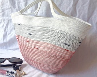 Rope purse, coil rope bag, purse, tote, neutral with black and red