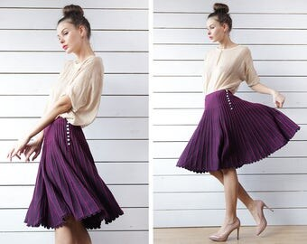 KOOKAI vintage purple pink striped knit crochet scalloped hem flared full sweep A-line knee length midi skirt S M