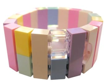 Kawaii Pastel bracelet - made from LEGO (R) bricks on stretchy cords - Harajuku - FRUiTS Japanese fashion magazine - cosplay