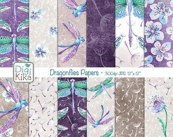 Dragonfly Digital Papers, Purple Scrapbook Paper - Floral Papers - Watercolor Background - Planner Srtickers - INSTANT DOWNLOAD