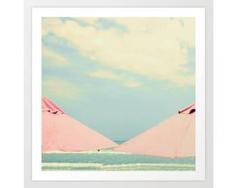 SALE, Beach photography, wall art canvas art, beach wall art, beach art, pink umbrella, beach umbrella, beach canvas,coral bathroom wall art