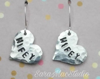 Wifey - Stamped Earrings - By SaraMacStudio
