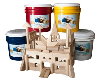 Wooden Building Blocks-118 Blocks In A Bright Colored Bucket With Instructions For Castle